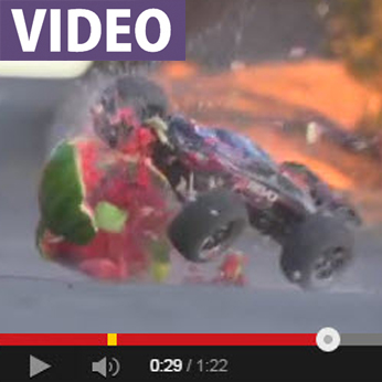 WATCH: Traxxas E-Revo Pulverizes Watermelon In Slo-Mo