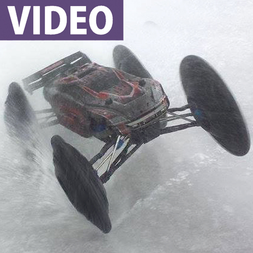 Traxxas E-Revo Spins Tires Into Pizza Cutters On Ice [VIDEO]