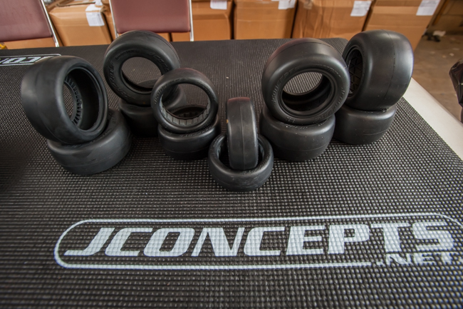 JConcepts full lineup of slick tires. Drivers like TLR's Ryan Maifield are looking fast on the treadless tires.