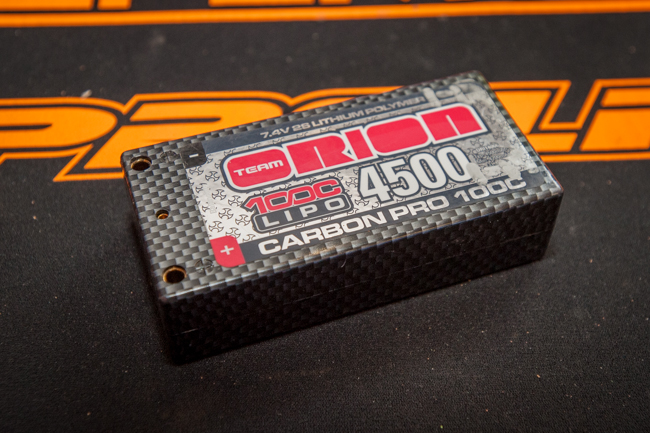 An Orion 4500 Carbon Pro shorty LiPo battery provides good power and weight.