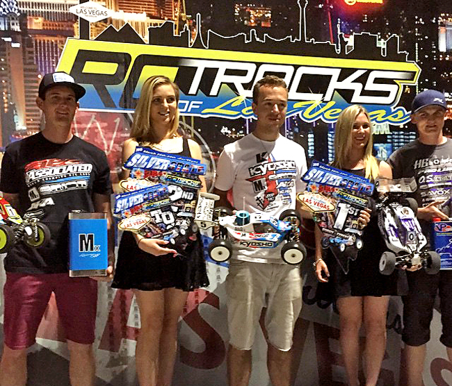 Expert Nitro Buggy Podium- Kyosho's Jared Tebo 1st, Team Associated's Ryan Cavalieri 2nd, HPI/Hot Bodies Ty Tessmann 3rd.
