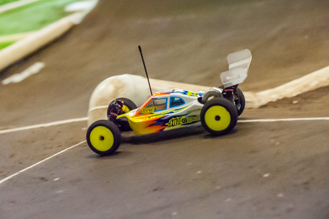 HB/HPI Racing's Drew Moller pushing hard in his custom made 2WD buggy.