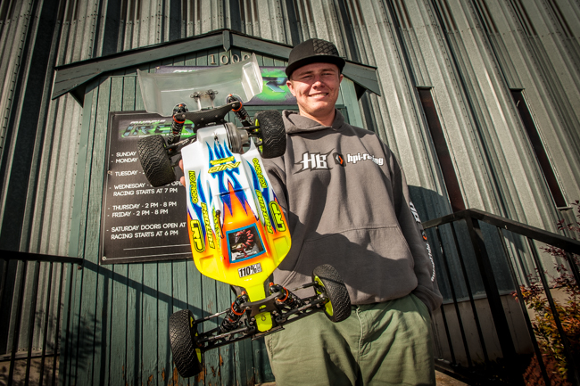 HB's Dre Moller with his custom creation in front of Intermountain RC Raceway