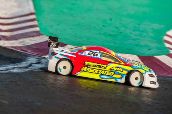 Team Associated's Ryan Cavalieri is easy to spot on the track in his signature paint scheme.