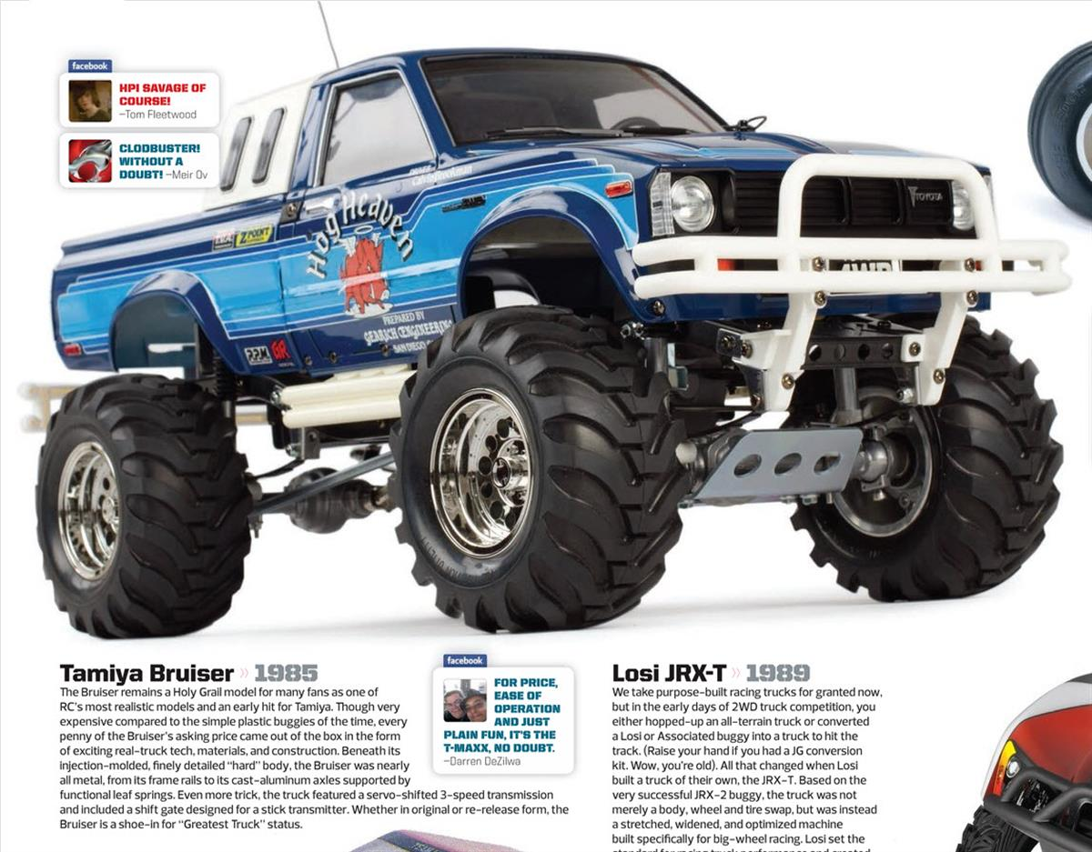 Greatest RC Trucks of all Time, radio control, rc car, Tamiya Bruiser, Losi JRX-T