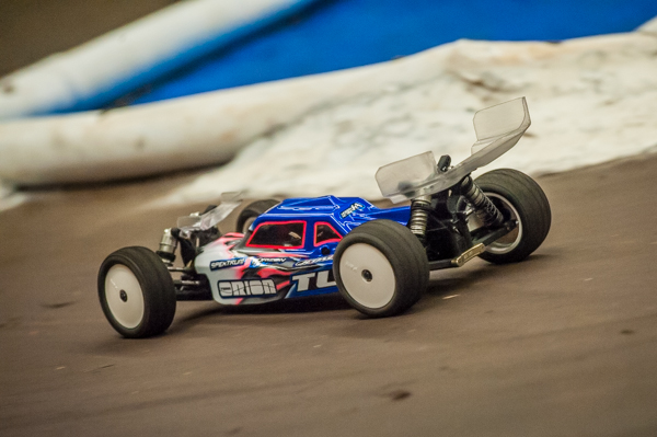 Ryan Maifield isn't afraid to try the front wing on his TLR 22-4 4WD buggy