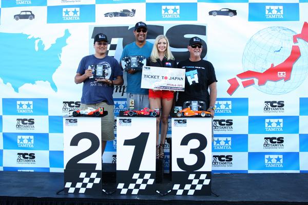 Tamiya Championship Series F1 winners: Jason Huang 2nd, Tyree Phillips 1st, Bill Jeric 3rd.