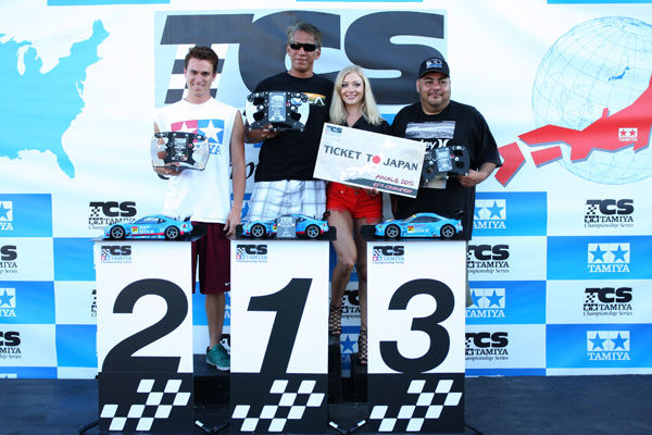 Tamiya Championship Series GT1 Podium: Timmy Valles 2nd, Rod Canare 1st, Mike Molina 3rd.