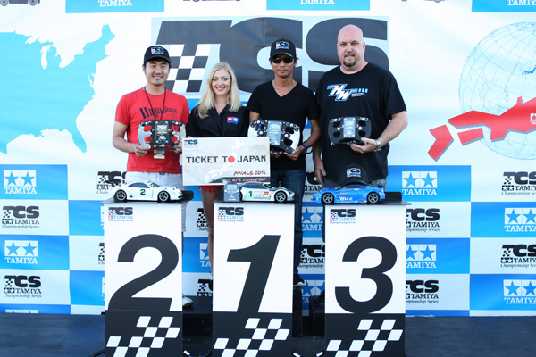 Tamiya Championship Series GT2 winners: Toby Zhang 2nd, Roel Espina 1st, Kevin Smith 3rd.