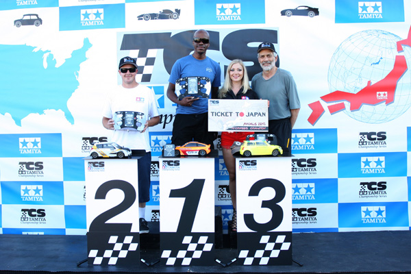 Tamiya Championship Series M-Chassis winners: Jason Smith 2nd, Orlando Sherman 1st, Mark Brown 3rd.