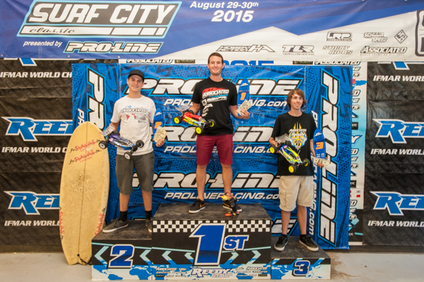2015 Pro-Line Surf City Classic 4WD podium. Team Associated sweeps with Ryan Cavalieri 1st, Spencer Rivkin 2nd and Rob Gillespie Jr. 3rd.