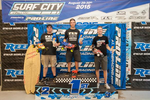 Mod Stadium Truck podium. Dakotah Phend 1st, TLR's Frank Root 2nd, Team Associated's Brent Thielkie 3rd.