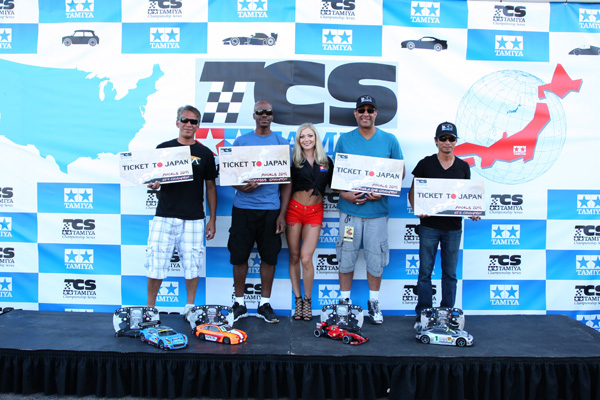 Tamiya Championship Series Trip Winners (left to right): Rod Canare/ GT-1, Orlando Sherman/ M-Chassis, Tyree Phillips/ F1, Roel Espina/ GT-2