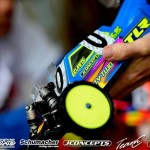 TLR's Dustin Evans buggy is prepared for the track.