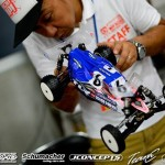 Ryan Maifield and the rest of the TLR Factory Drivers showed up at the event with a new buggy with a transmission laid down and forward. Maifield is also using JConcepts new body specifically designed for high-bite conditions.