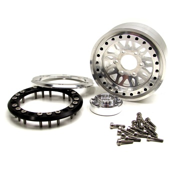 Gear Head RC Vegas 1.9″ Silver And Gunmetal Gray Beadlock Wheels