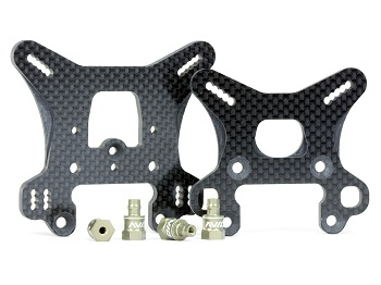 Avid Carbon Shock Towers Set And Aluminum Standoffs For The Team Associated RC8B3