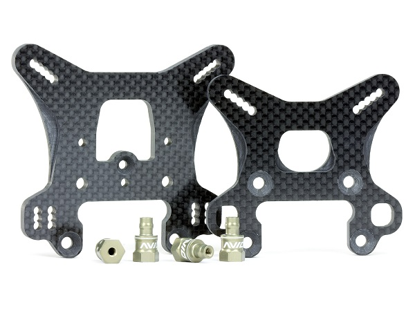 Avid Carbon Shock Towers Set And Aluminum Standoffs For The Team Associated RC8B3  (1)