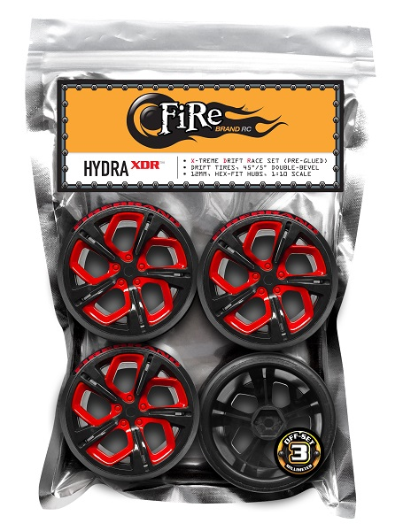 FireBrand RC HYDRA-XDR Drift Wheel And Tire Set (3)