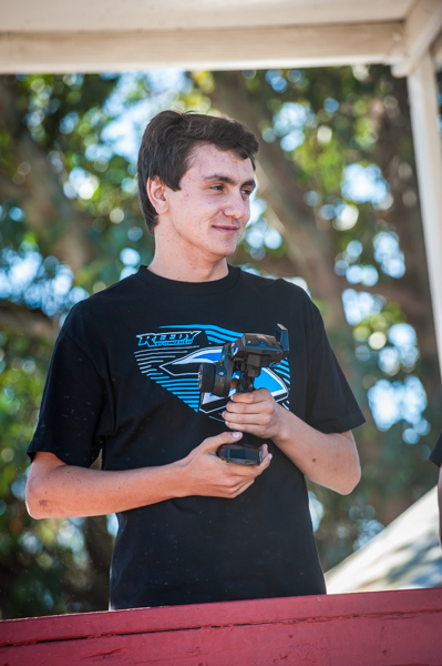 Team Associated's Jake Mayo has been turning a lot of heads lately with his improved driving. He sits up front after qualifying in Open Stadium Truck.