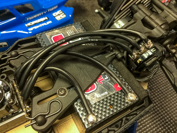 A look at the new battery area that allows users to position a shorty pack in various locations for weight bias tuning.