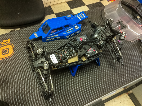 The new TLR 22 3.0 is prepped tp hit the track at OCRC Raceway in Huntington Beach, Caifornia. Jake Thayer (buggy shown) and Kevin Motter received the buggy and extra parts and meticulously prepared it. Last night they were able to start putting it through its paces and tuning it for the famous dirt.