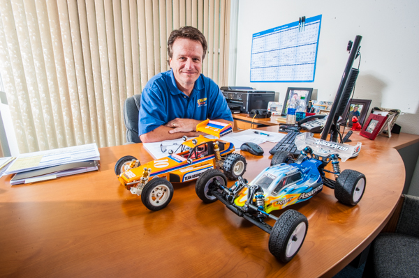 Team Associated's President Cliff Lett at his desk at the company's headquarters.