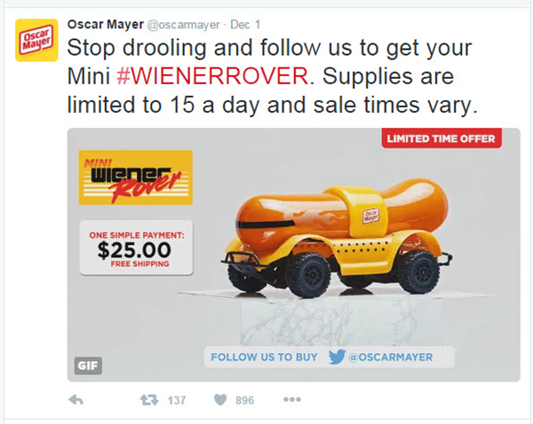 Oscasr Meyer Weinermobile tweet