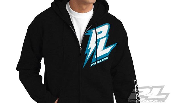 Pro-Line Bolt Black Zip-Up Hoodie, Bolt Blue T-Shirt, And Script Black T-Shirt (1)