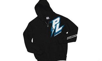 Pro-Line Bolt Black Zip-Up Hoodie, Bolt Blue T-Shirt, And Script Black T-Shirt