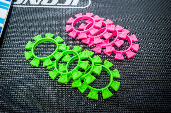 The Reedy Race theme continues with Mike Reedy's favorite color combination. Drivers who came to the event received a free product bag including the green tire bands. Pink will also be available for purchase shortly.
