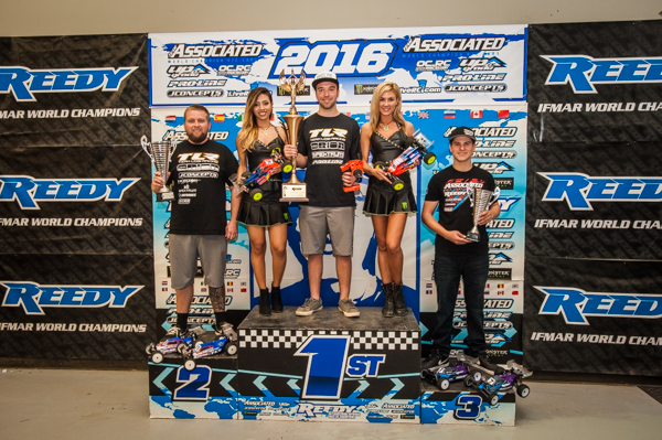 The Reedy Race podium. TLR/ Dakotah Phend, First, TLR/ Ryan Mailfield, Second, Team Associated Spencer Rivkin, Third.