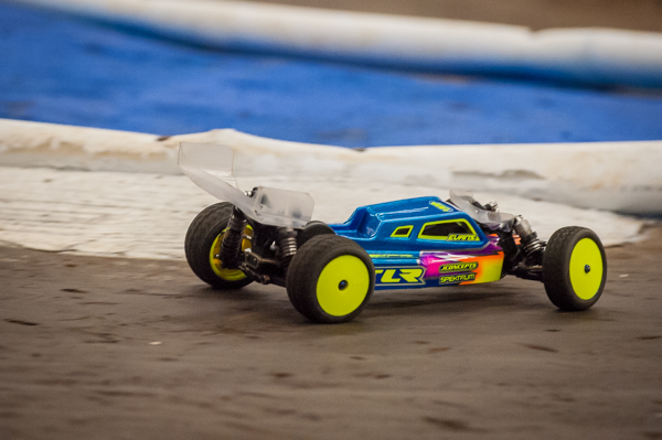 TLR's Duston Evans has been on a rool, showing great speed in practice and backing it up with two wins to lead early on at the event.