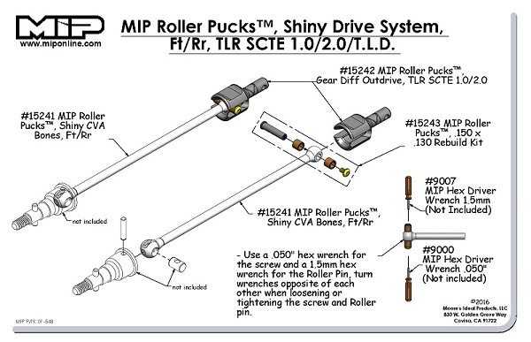 MIP Roller Pucks For The TLR_Losi TEN-SCTE And Losi TEN-Rally X Shiny Drive System (4)