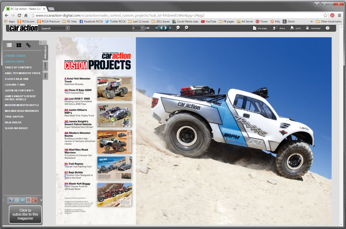 RC Car Action Custom Projects TOC