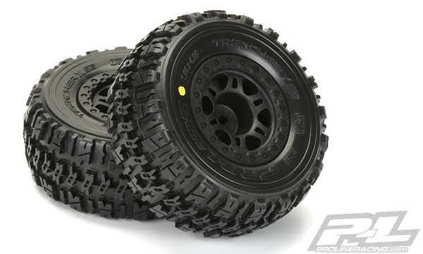 Pro-Line Trencher X SC 2.23.0 Tires Mounted On Black Split Six Wheels (4)