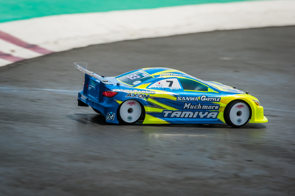 Tamiya's Akio Sobue has been a darkhorse at the event, but can't be discounted and sits in forth with one day to go.