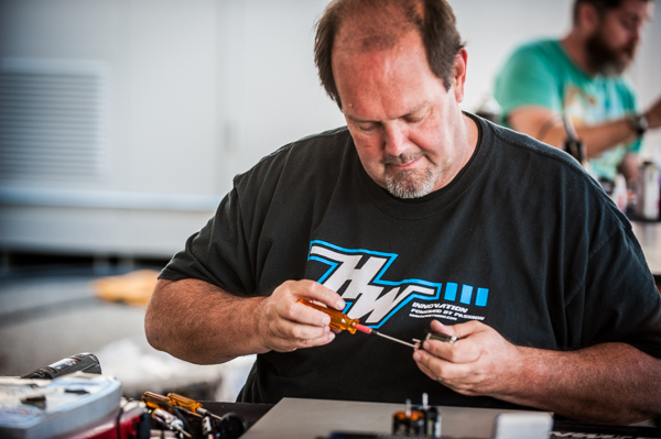 Ron working on one of the many motors that make it to his pits at big events.
