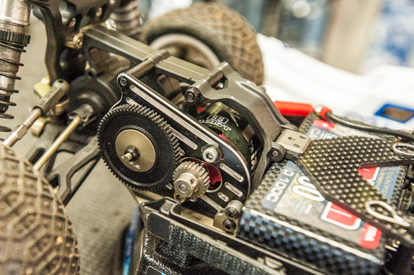 Jake uses TLR's new slipper eliminator when running stock. He was also testing some prototype drivetrain products but wasn't at liberty to disclose more information. He used a 69-tooth spur gear with 26-tooth pinion.