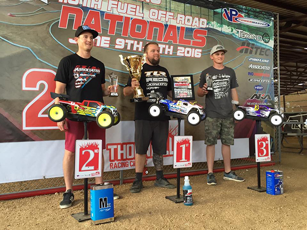 Ryan Maifield/ TLR 1st, Ryan Cavalieri/ Team Associated 2nd, Ty Tessmann/ Hot Bodies 3rd.