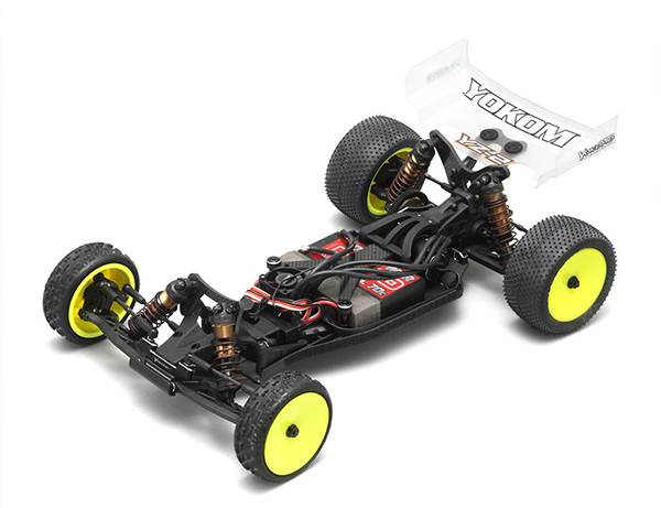 The Yokomo YZ-2 is another buggy kit with a laydown transmission.