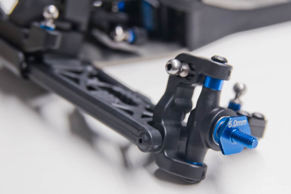 Once mounted on the suspension arm, the ball stud is added and ready to accept the camber link.
