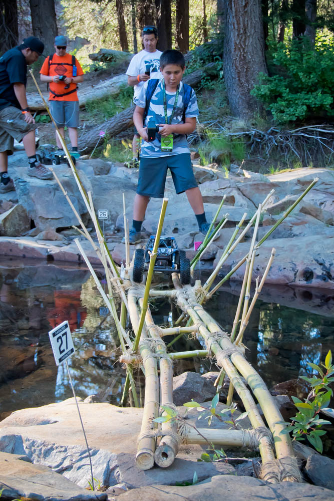One of the many bridges at Axialfest were difficult to navigate because they were narrow and slippery.
