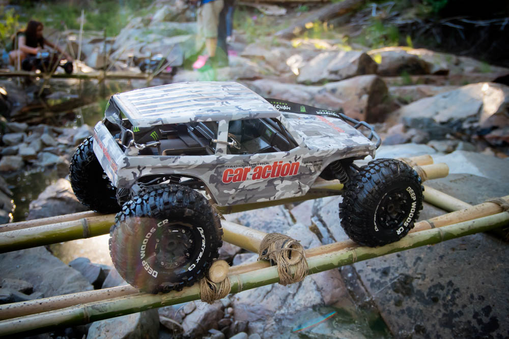 I'm not going to go to my first Axialfest and not participate. Here is my Axial Wraith Spawn fitted with Duratrax's new Deep Woods crawler tires getting some action.