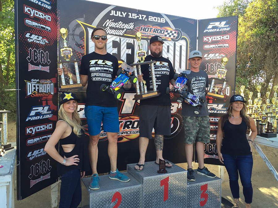4WD Buggy Podium: Ryan Maifield/ TLR 1st, Dustin Evans/ TLR 2nd, Ty Tessmann/ HB Racing 3rd.