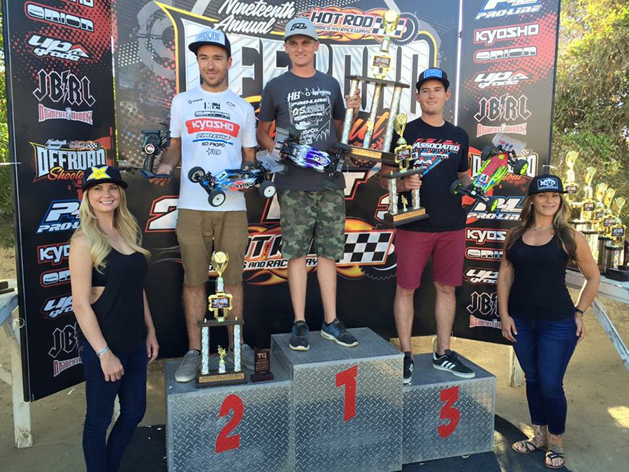Modified 2WD Buggy Podium: Ty Tessmann/ HB Racing 1st, Jared Tebo/ Kyosho 2nd, Ryan Cavalieri/ Team Associated 3rd.