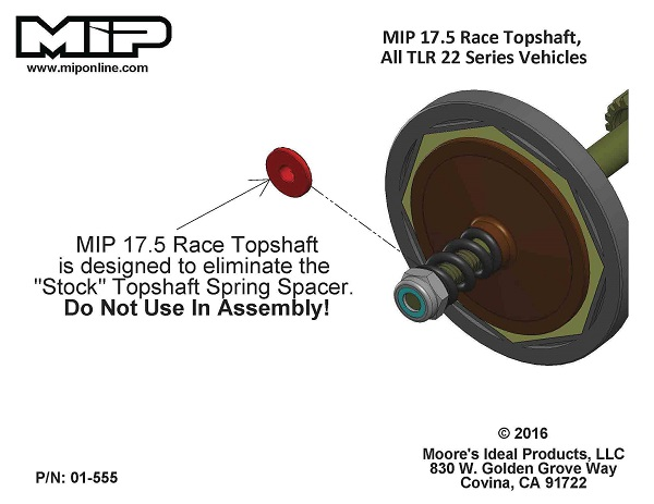 MIP 17.5 Race Top Shaft For TLR 22 Vehicles (2)