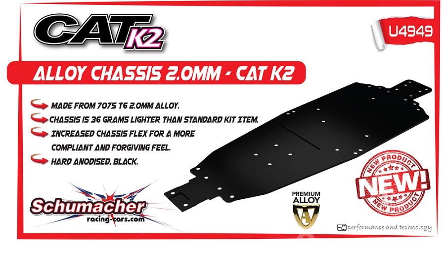 Schumacher CAT K2 Alloy Chassis And LiPo Mounts (2)