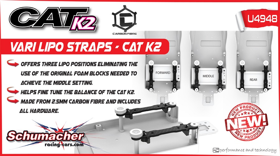 Schumacher CAT K2 Alloy Chassis And LiPo Mounts (4)