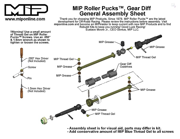 MIP Roller Pucks Gear Diff Kit For AE B6 Series Vehicles (2)